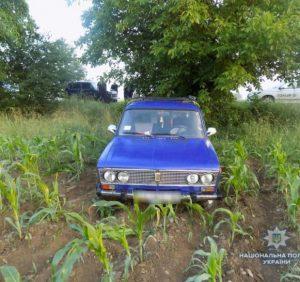 Тікаючи від поліції викрадачі автомобіля покинули його у кукурудзяному полі (ФОТО)