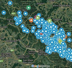 Опубліковано карту туристичних притулків в українських Карпатах