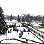 У День Соборності України закарпатці сполучили береги Ужа стометровим жовто-блакитним стягом
