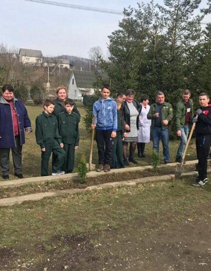 Лісівники Тячівського держлісгоспу разом із школярами заклали алею туї