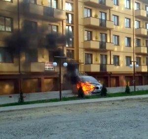 В Ужгороді згорів «арабський» BMW (відео)