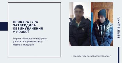 На Берегівщині прокуратура затвердила обвинувачення у розбої двом неповнолітнім юнакам